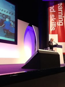Lord Puttnam presenting at Learning Technologies 2013